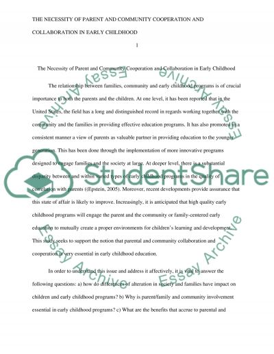 The Necessity of Parent and Community Cooperation and Collaboration in Early Childhood essay example