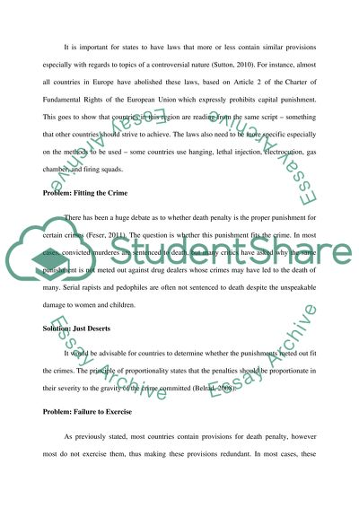 Death Penalty (Identifying the Problem and Offering the Solution) Essay 3