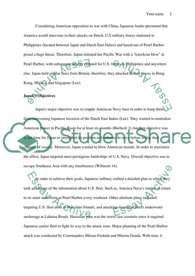 Pearl harbor Essay Example | Topics and Well Written Essays - 1000 words