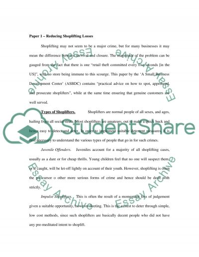 Shoplifting and customer satisfaction essay example