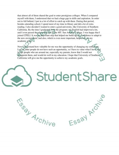 USC personal statement