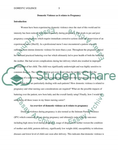 Domestic violence as it relates to pregnacy (Option 2) essay example