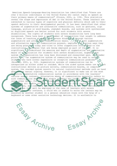 Augmentative and alternative means of communication for teaching students with severe disabilities