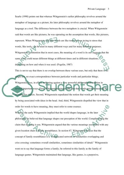 Private Language in Wittgensteins Philosophy Essay example