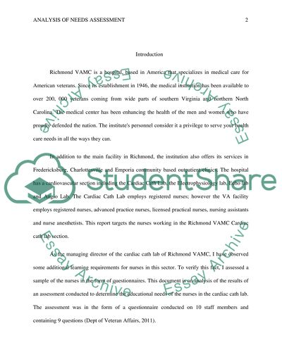 analys of a needs assessment essay example  topics and well written  analys of a needs assessment