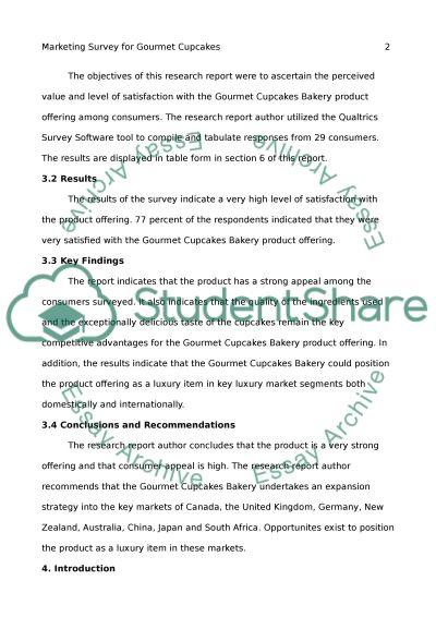 Marketing Survey for Gourmet Cupcakes essay example