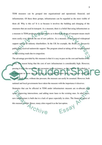 Transport Demand Management Essay Example   Topics and Well
