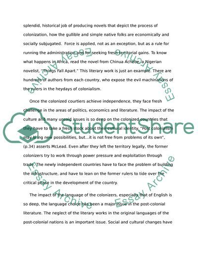 English literature (poatcolonalism: region-nation) essay example
