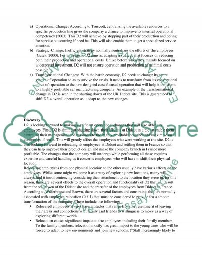 Organisational Change Management Essay example