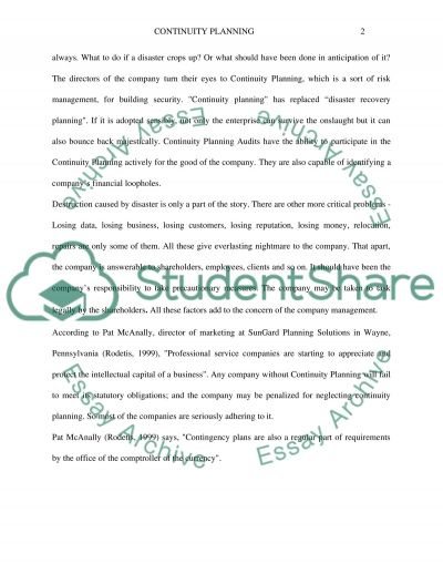 Continuity Planning essay example