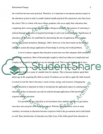 Assignment 1: Educational Change essay example