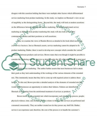 Services Marketing essay example