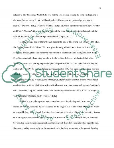 Billie Holiday essay example
