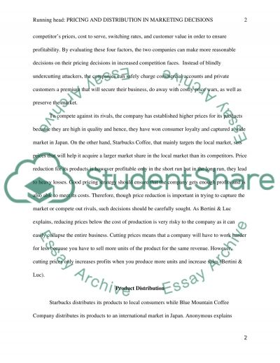 Pricing and Distribution in Marketing Decisions essay example