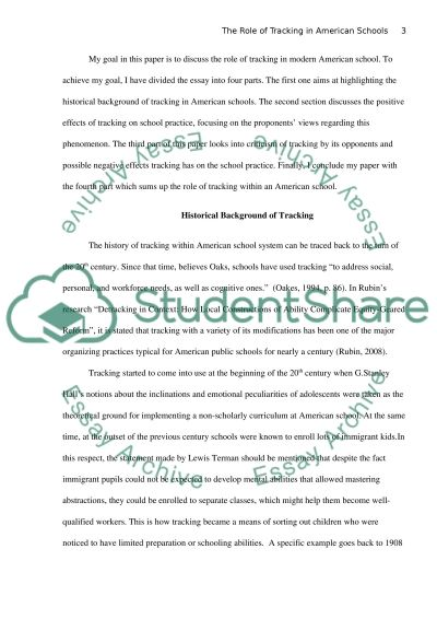 The Role of Tracking in American Schools essay example