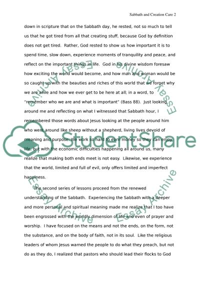 Care of Creation Essay essay example