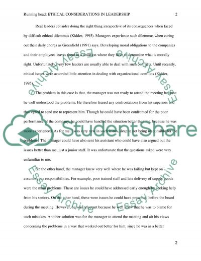Ethical Considerations in Leadership essay example