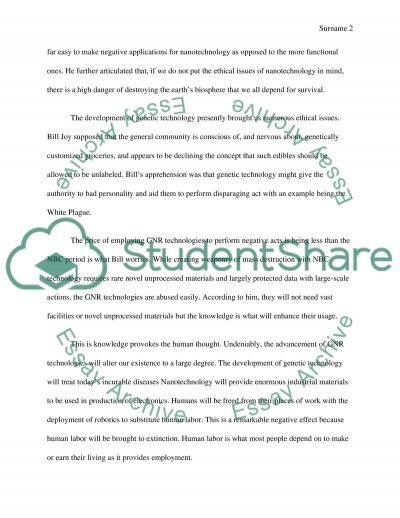 Why the Future does not Need Us essay example