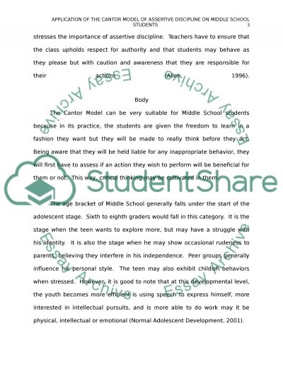 Application of the Cantor Model of Assertive Discipline on Middle School Students essay example