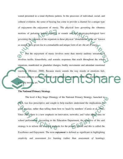 Prmary Education Themed Cross Curricular Topics essay example