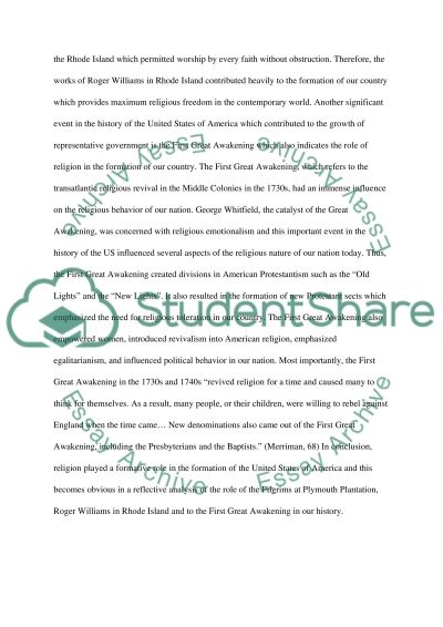 The Role of Religion in the Formation of America essay example
