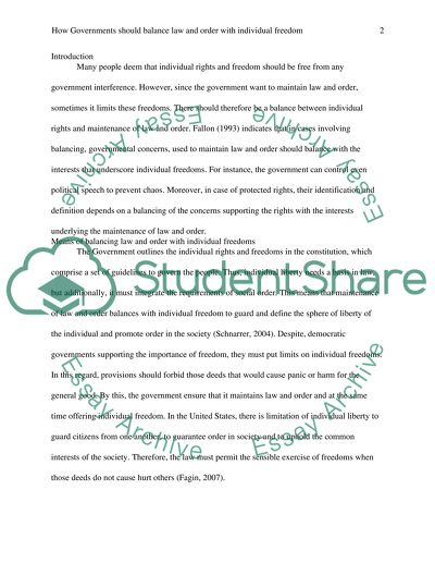 Law and Order Essay Example | Topics and Well Written Essays - words