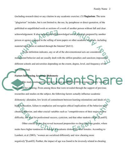 Academic Dishonesty Essay Example Topics And Well Written Essays