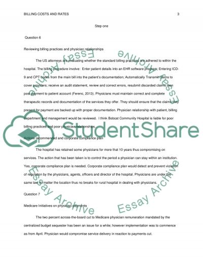 Billing Costs and Rates essay example