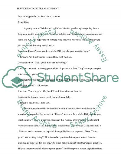 SERVICE ENCOUNTERS essay example