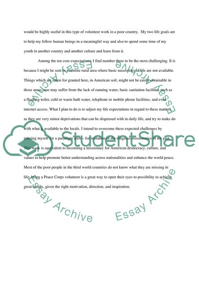 Essay for peace corps application newspaper book report
