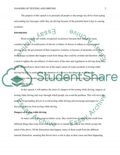 persuasive speech on dangers of texting and driving or presentation persuasive speech on dangers of texting and driving essay example