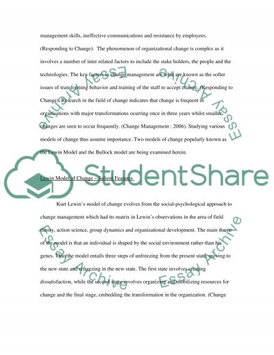Change Management College Essay