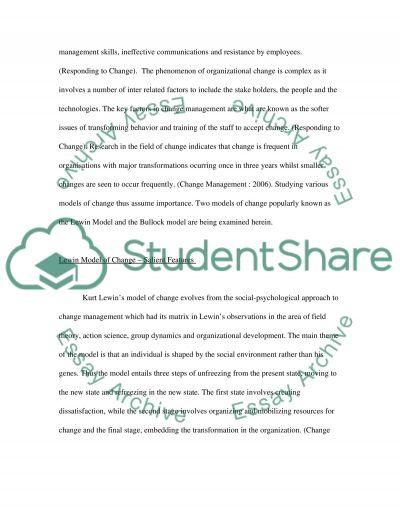 Change Management College Essay essay example