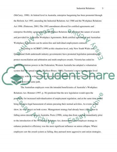 Industrial Relations Essay essay example