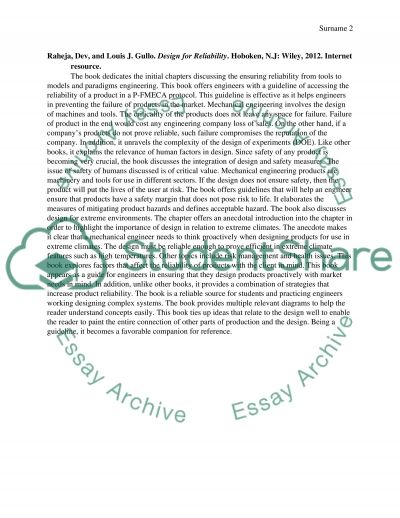 (Annotated Bibliography) Essay example