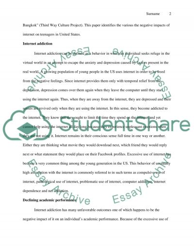 The negative impacts of internet on teenagers in the United States. Essay example
