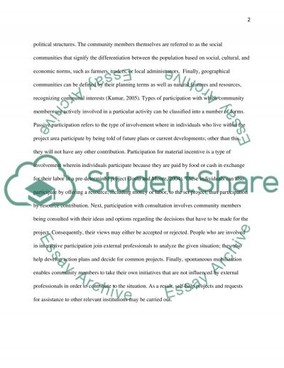 Benefits of Community involvement in Construction essay example