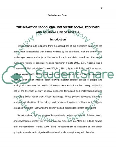 the impact of neocolonialism on the social economic and political  the impact of neocolonialism on the social economic and political life of ia essay example