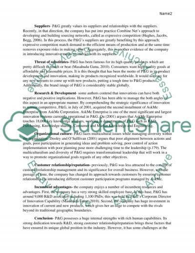 Analysis of Procter and Gamble essay example