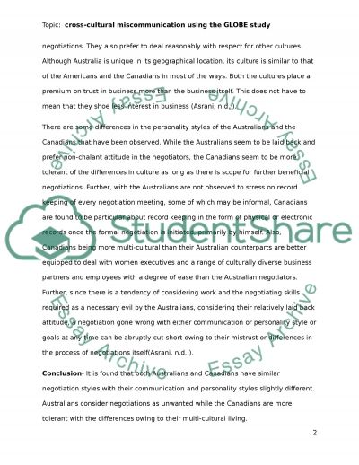 Crosscultural Miscommunication essay example