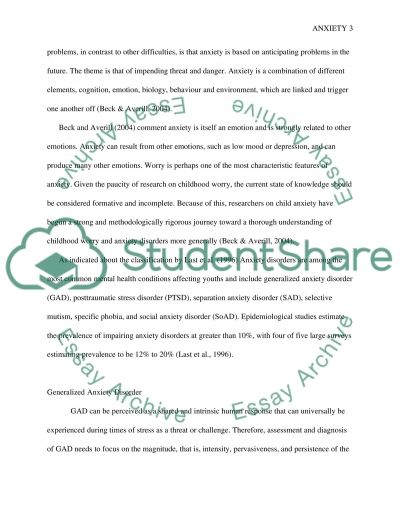 Anxiety disorder Essay essay example
