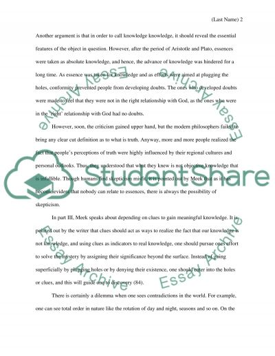Overview of the main ideas and arguments of Esthers Meeks book: Longing To Know Essay example