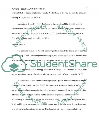 Case Study on Research in Motion essay example