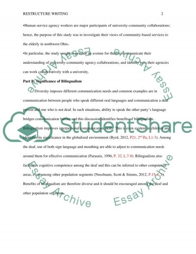 Restructure Writing essay example