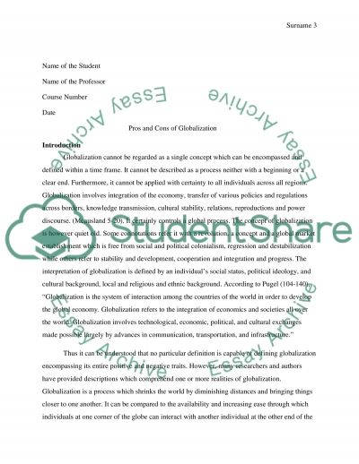 Pros and Cons of Globalization essay example