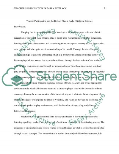 Teachers Role in Early Literacy (community involvement in early childhood education) essay example