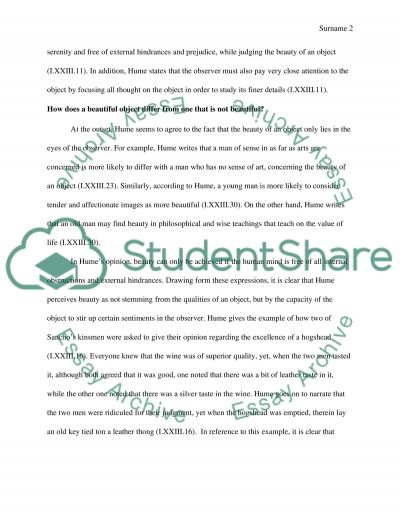 Hume Of the Standard of Taste essay example
