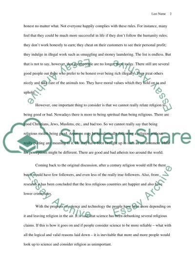 Religion essay example