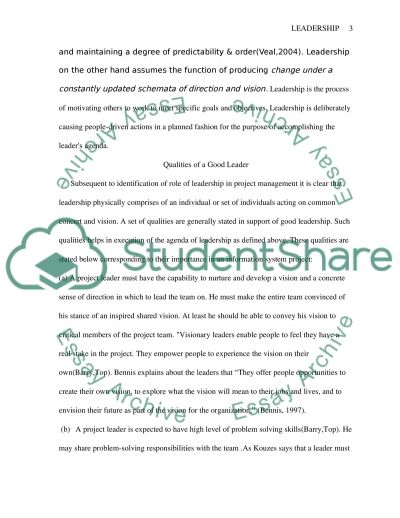 Leadership in project management essay example