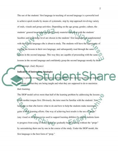 Teaching of English as the Second Language essay example